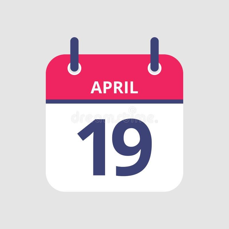 Calendário 19o abril ilustração royalty free