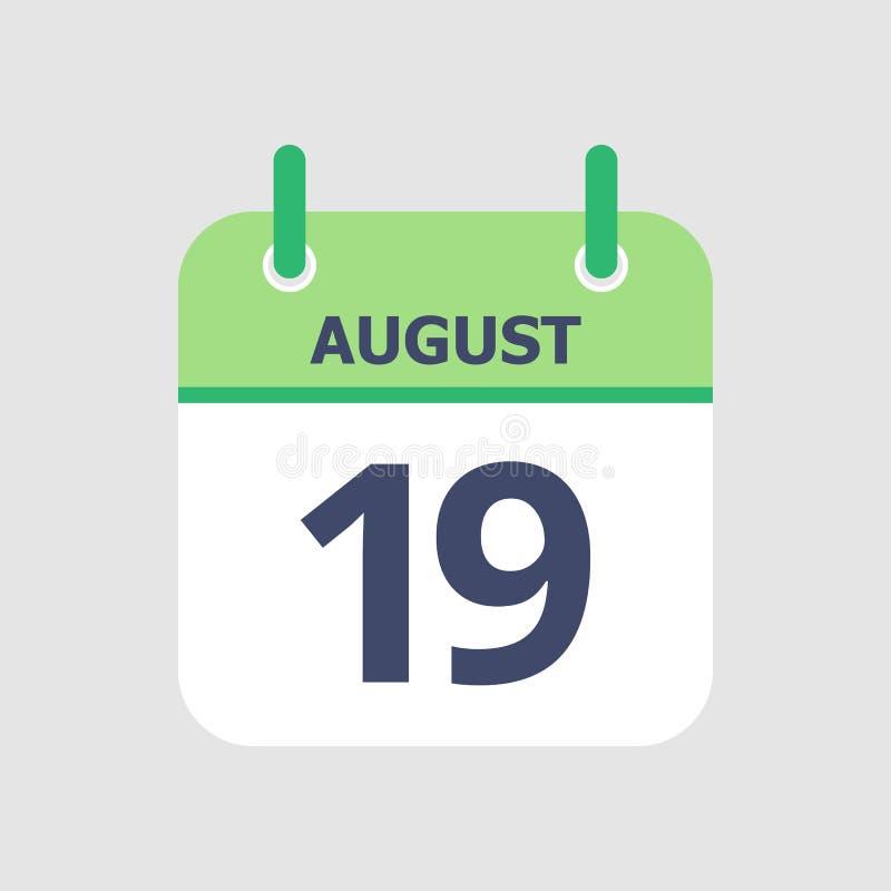 Calendário 19o agosto ilustração stock