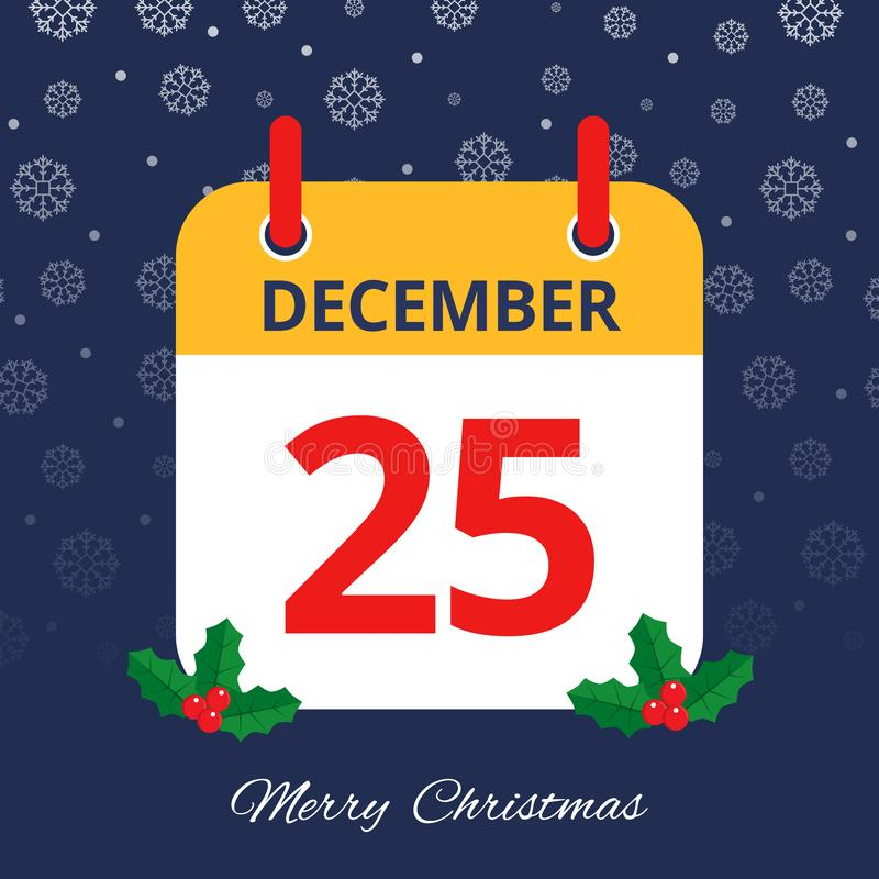Calendário 25o dezembro ilustração stock