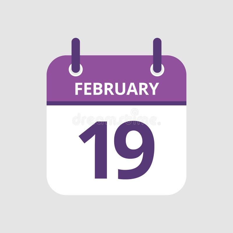 Calendário 19o fevereiro ilustração do vetor