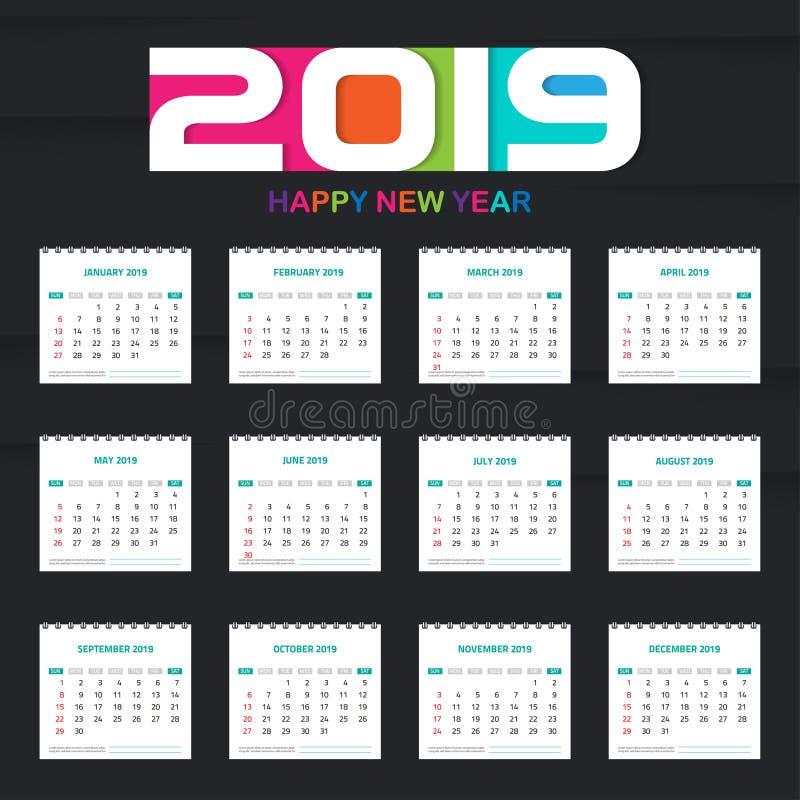 Calendário 2019 O grupo colorido, ajustou o projeto do molde do calendário da mesa e de parede com espaço para Foto e logotipo de ilustração stock