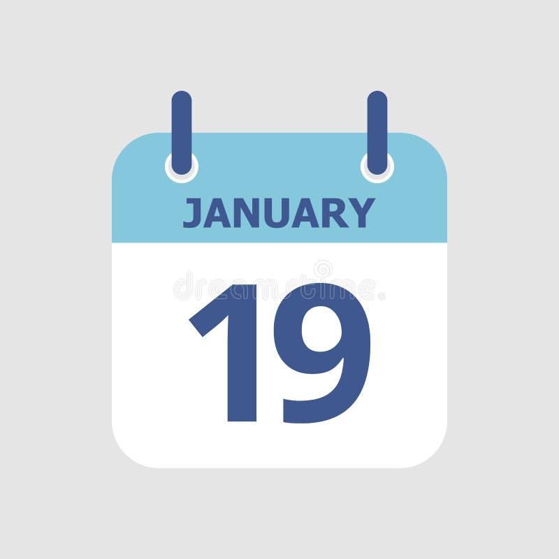 Calendário 19o janeiro ilustração do vetor