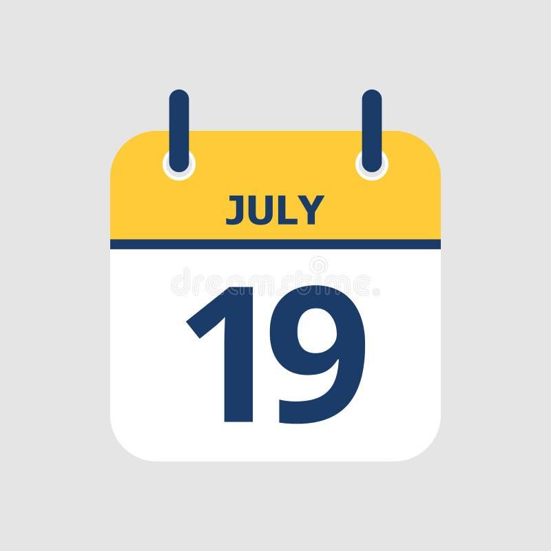 Calendário 19o julho ilustração do vetor