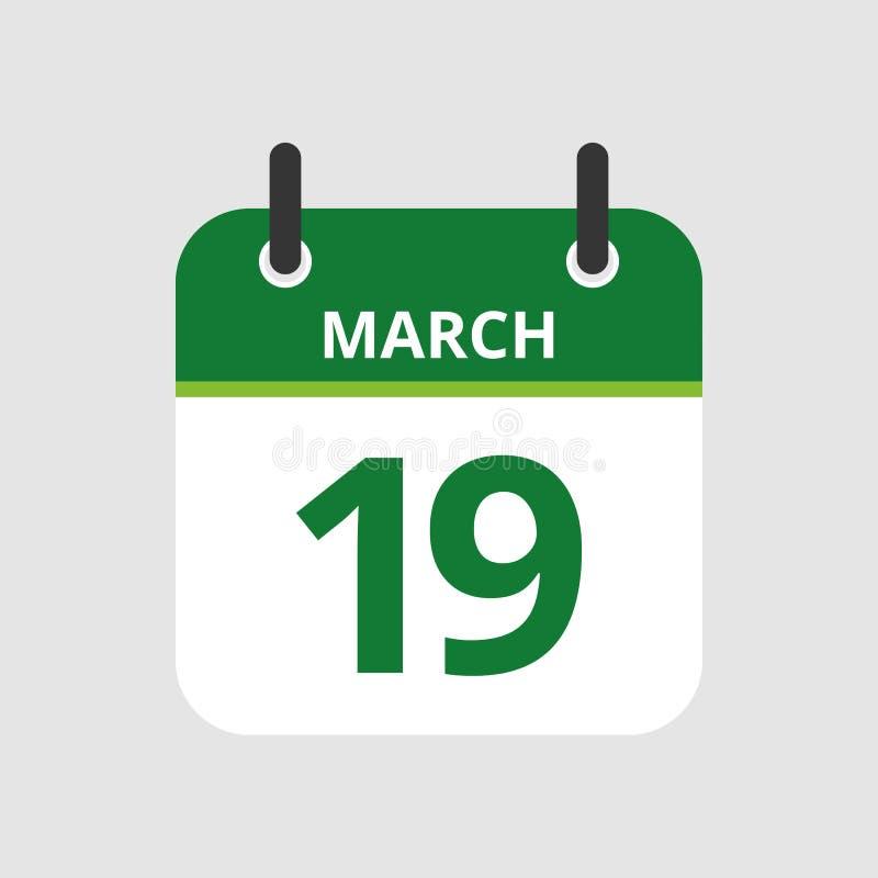Calendário 19o março ilustração royalty free