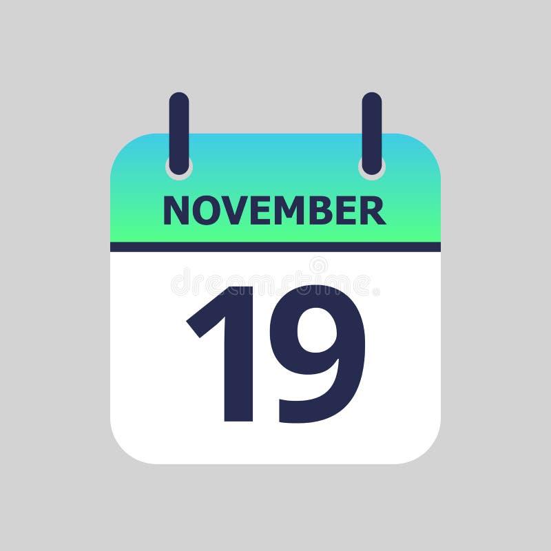 Calendário 19o novembro ilustração royalty free