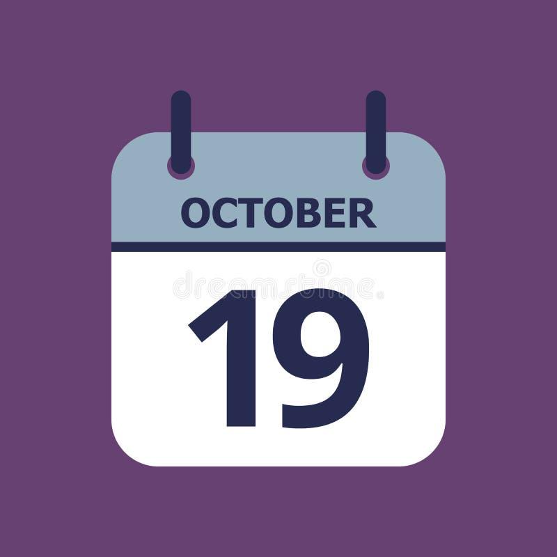 Calendário 19o outubro ilustração stock