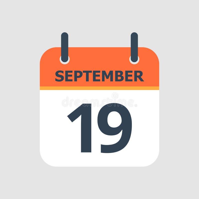 Calendário 19o setembro ilustração stock