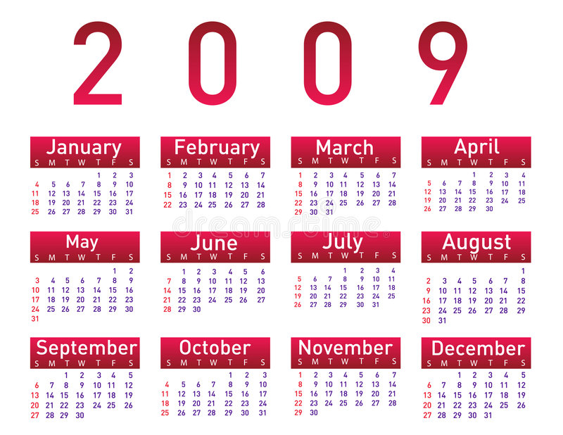 Calendário para 2009 ilustração royalty free