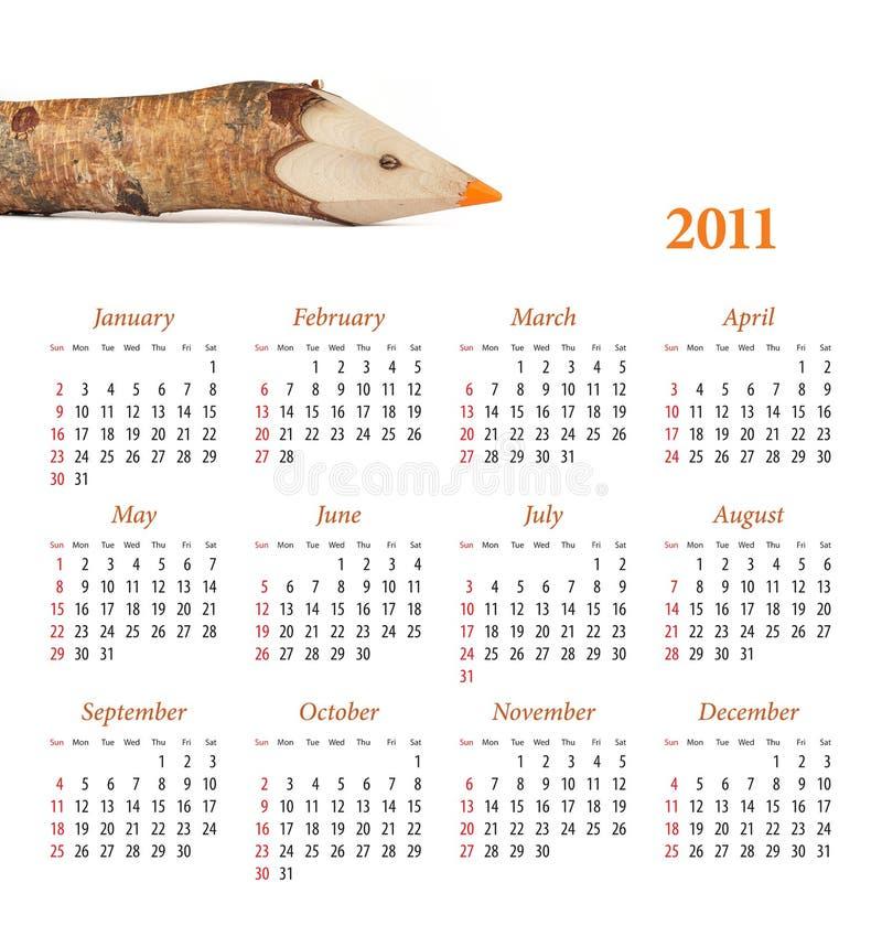 Calendário para 2011 ilustração do vetor