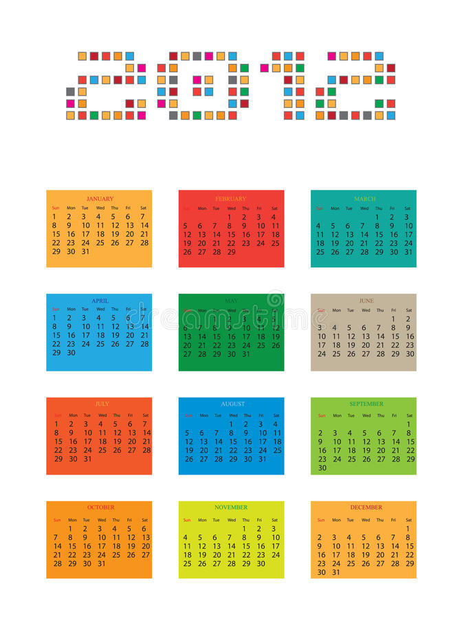 Calendário para 2012 ilustração stock
