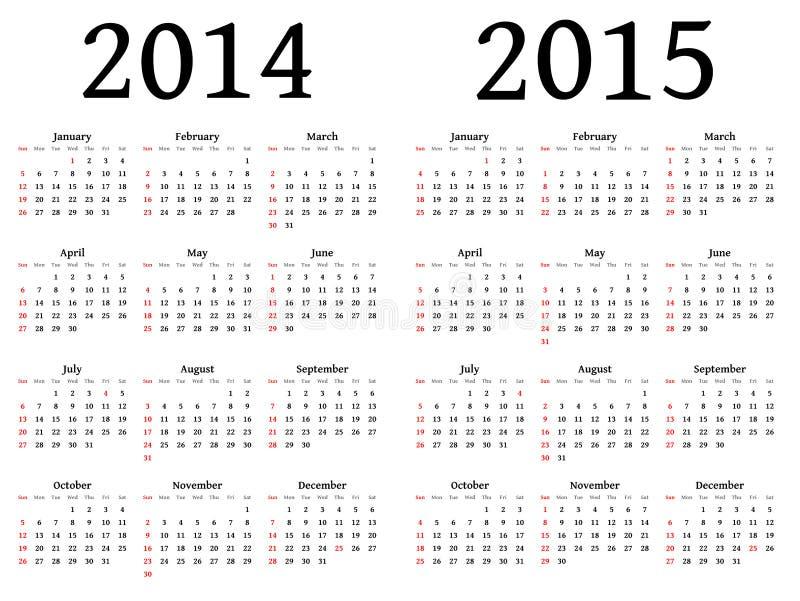 Calendário para 2014 e 2015 no vetor ilustração stock
