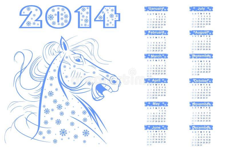 Calendário para 2014. imagens de stock royalty free