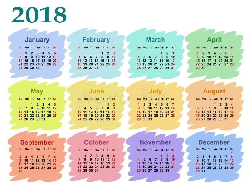 Calendário para 2018 ilustração do vetor