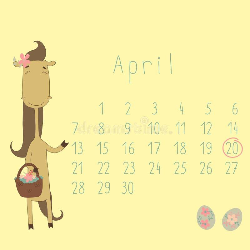 Calendário para abril de 2014. ilustração stock