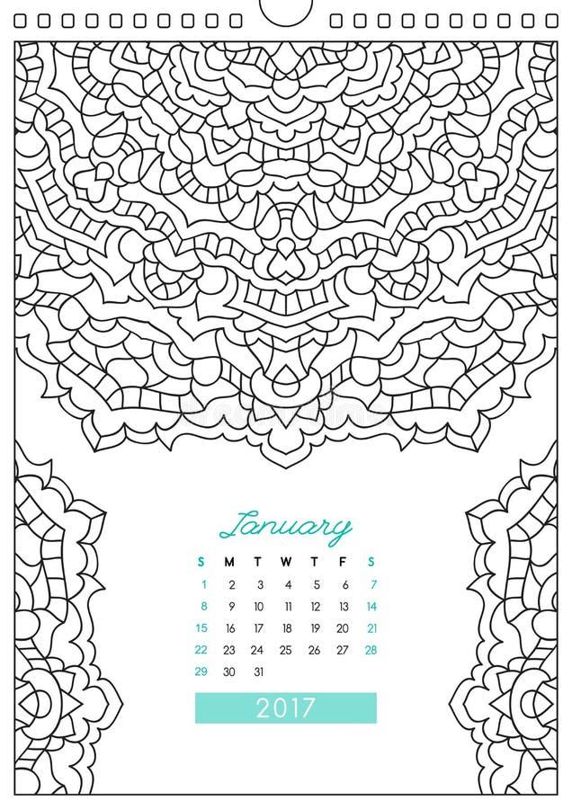 Calendário 2017 para colorir ilustração royalty free