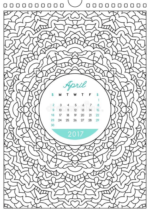 Calendário 2017 para colorir ilustração stock