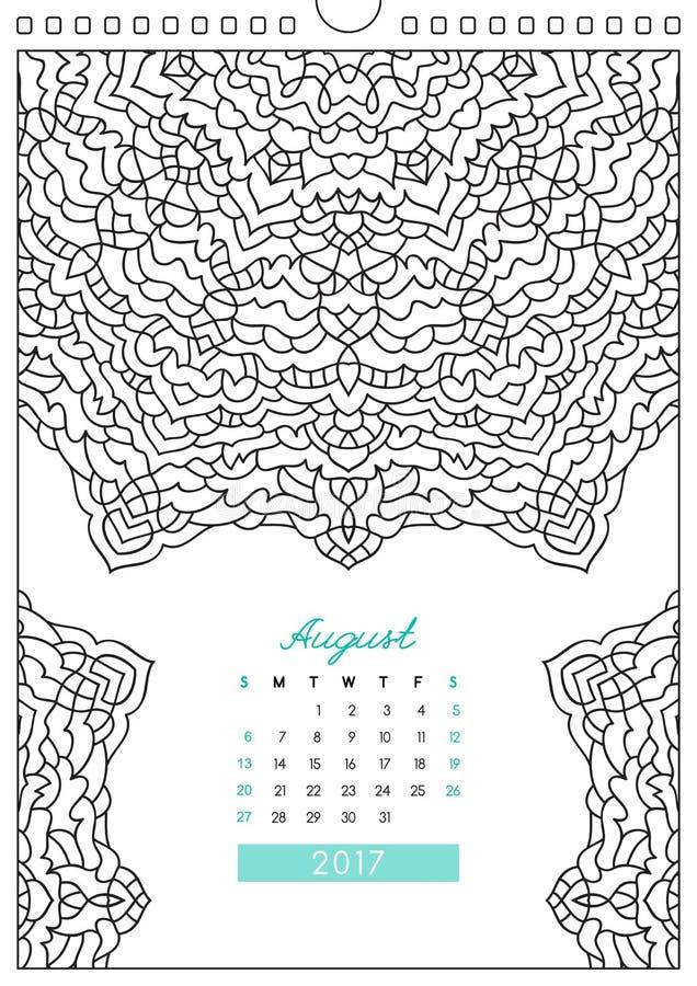 Calendário 2017 para colorir ilustração do vetor