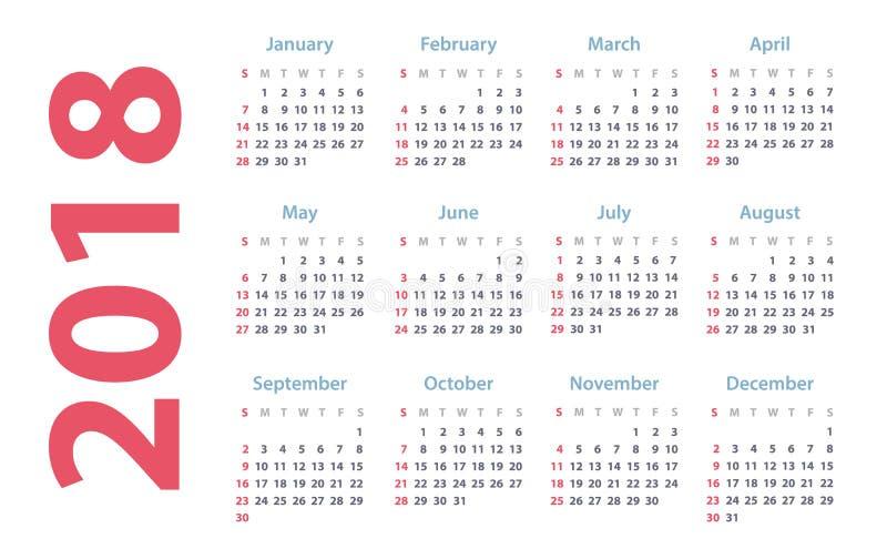 Calendário para 2018 começos domingo, projeto do calendário do vetor 2018 anos ilustração stock