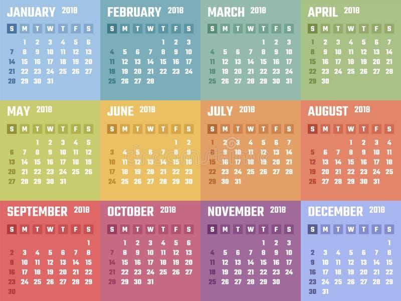 Calendário para 2018 começos domingo, projeto do calendário do vetor 2018 anos ilustração royalty free