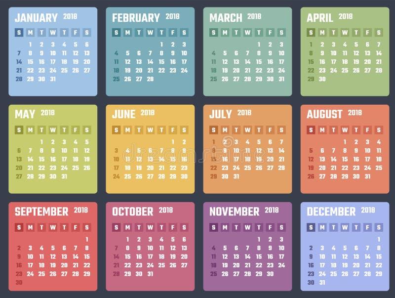 Calendário para 2018 começos domingo, projeto do calendário do vetor 2018 anos fotografia de stock royalty free