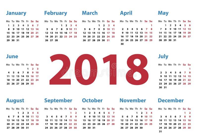 Calendário para 2018 começos segunda-feira, projeto do calendário do vetor 2018 anos ilustração stock