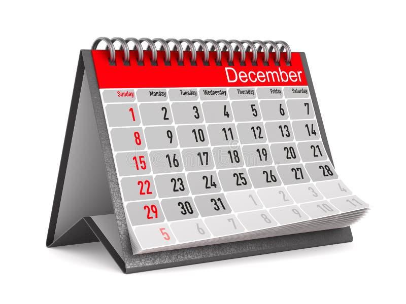 Calendário para dezembro Ilustração 3d isolada ilustração stock
