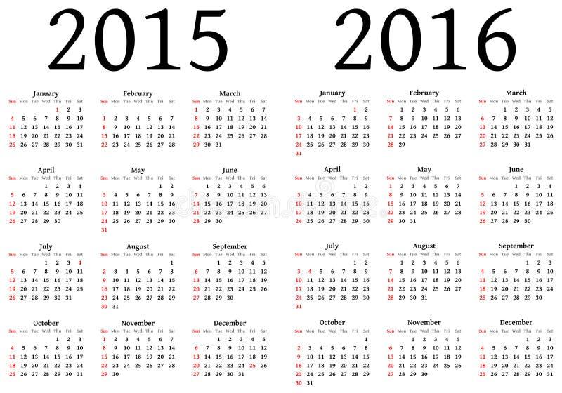 Calendário para 2015 e 2016 ilustração do vetor