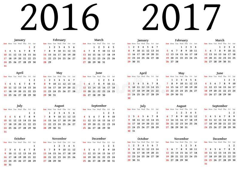 Calendário para 2016 e 2017 ilustração royalty free