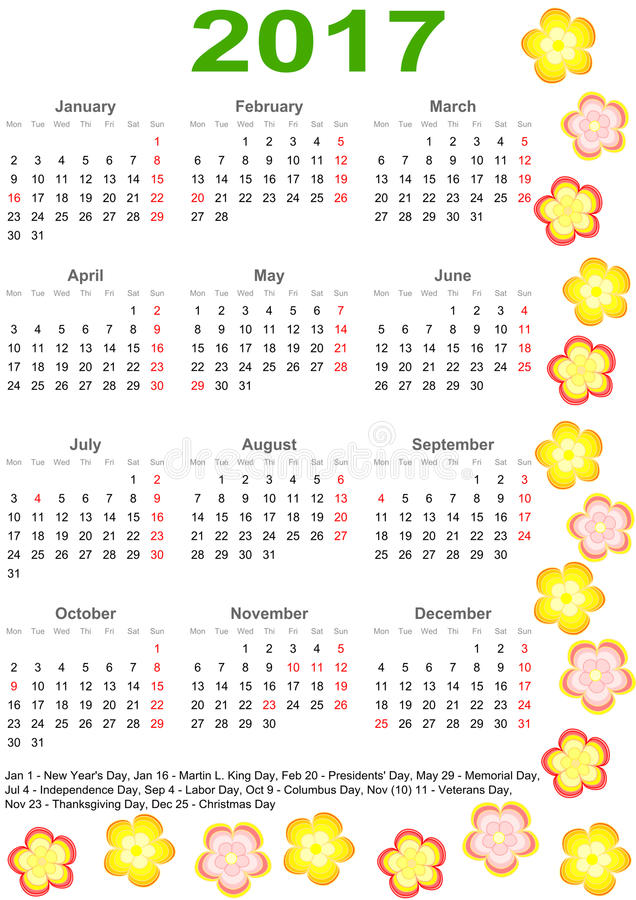 Calendário 2017 para EUA com flores coloridas ilustração royalty free