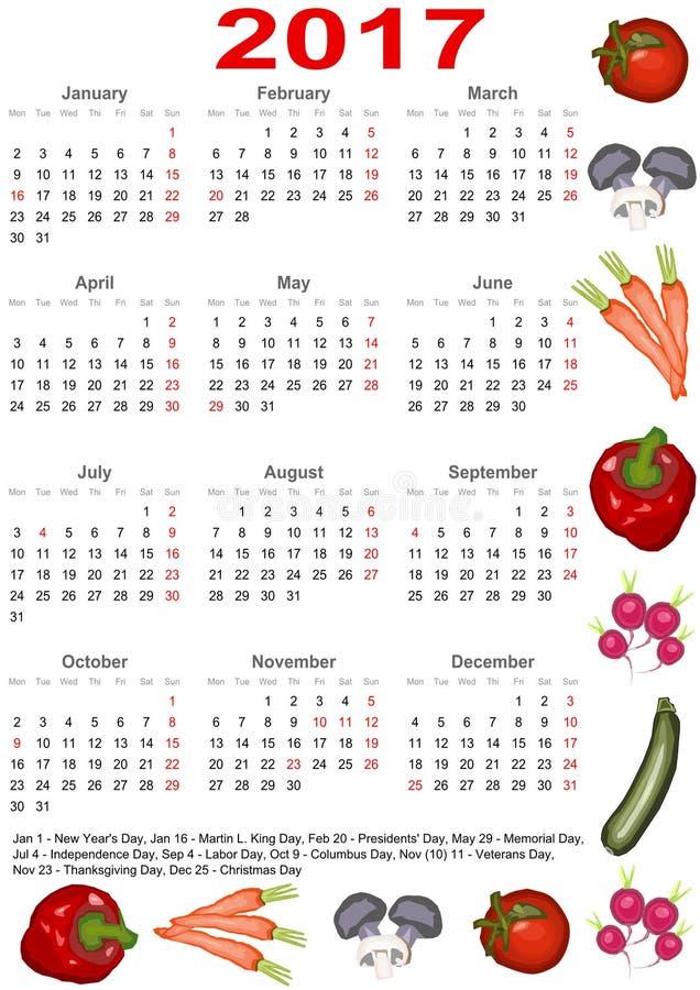 Calendário 2017 para EUA com vários vegetais ilustração do vetor