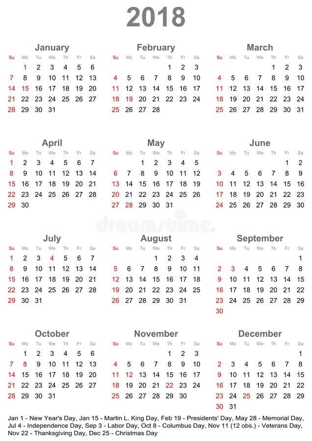 Calendário 2018 para EUA - a semana começa em domingo ilustração royalty free