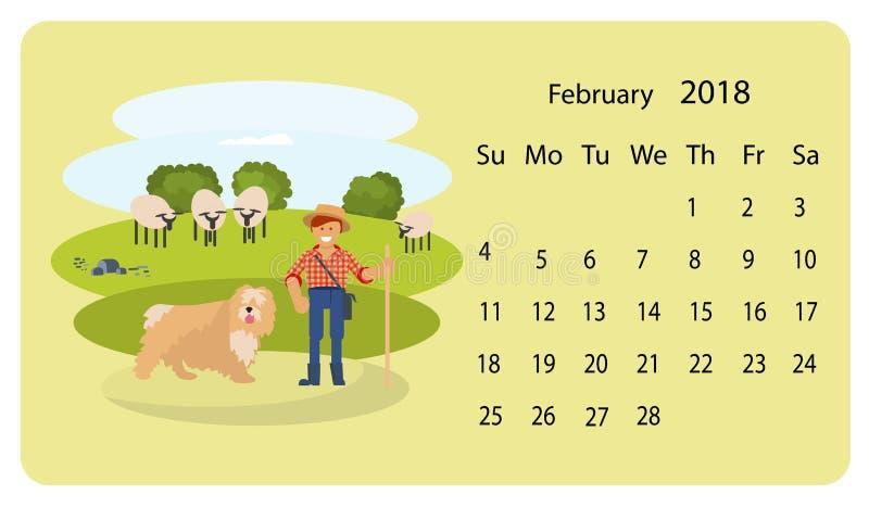 Calendário 2018 para fevereiro ilustração do vetor