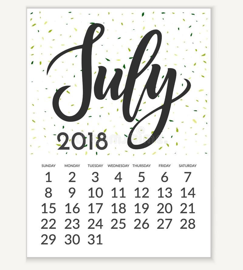 Calendário para julho de 2018 ilustração royalty free