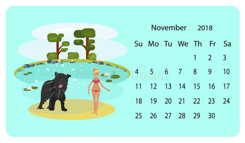 Calendário 2018 para novembro ilustração do vetor