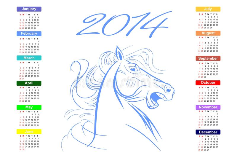 Calendário para o cavalo de 2014 azuis. fotografia de stock