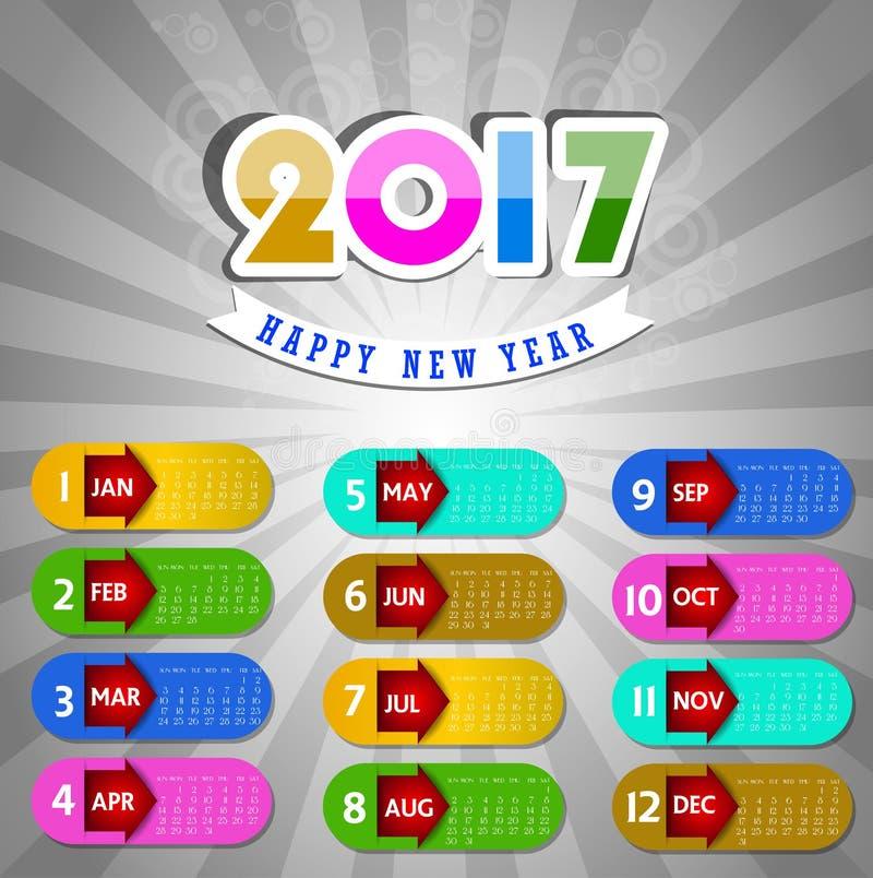 Calendário para o objeto 2017 para o elemento do projeto ilustração do vetor