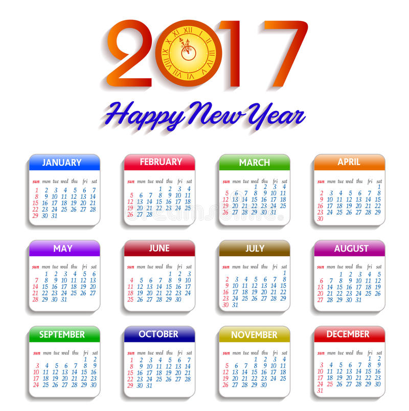 Calendário para o objeto 2017 para o elemento do projeto ilustração stock