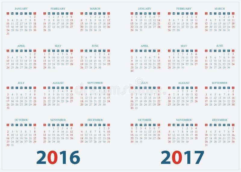 Calendário para o projeto 2016 2017 ilustração do vetor