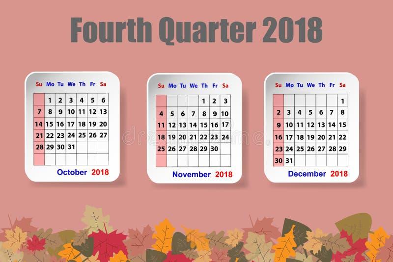 Calendário para o quarto trimestre de 2018 anos ilustração stock
