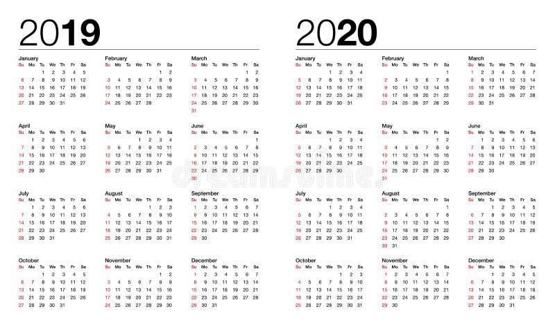 Calendário para o vetor 2019 e 2020 ilustração do vetor