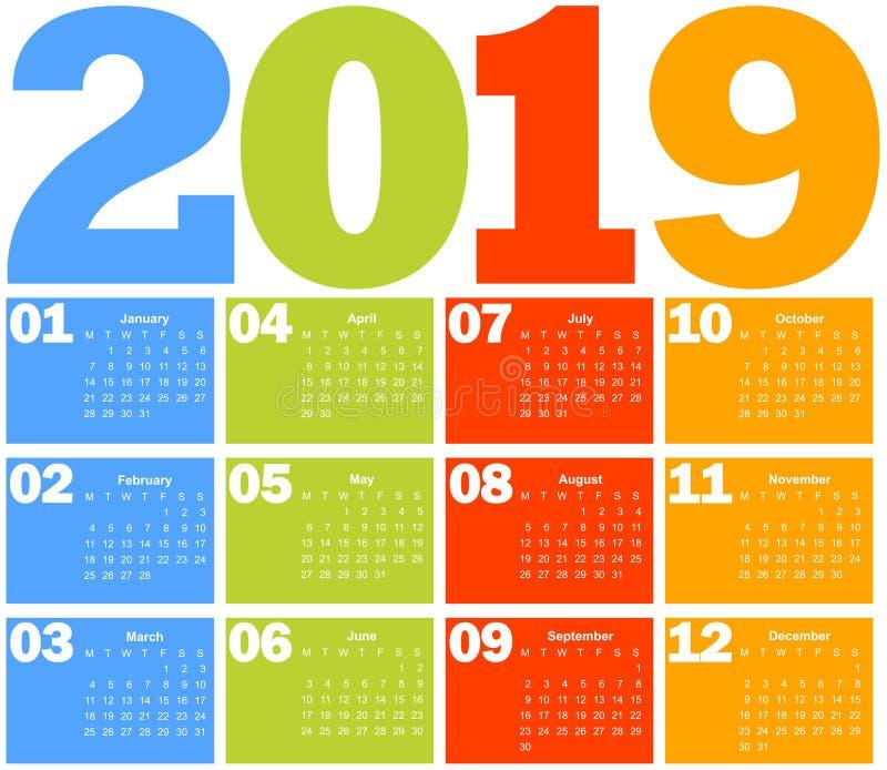 Calendário por 2019 anos ilustração do vetor