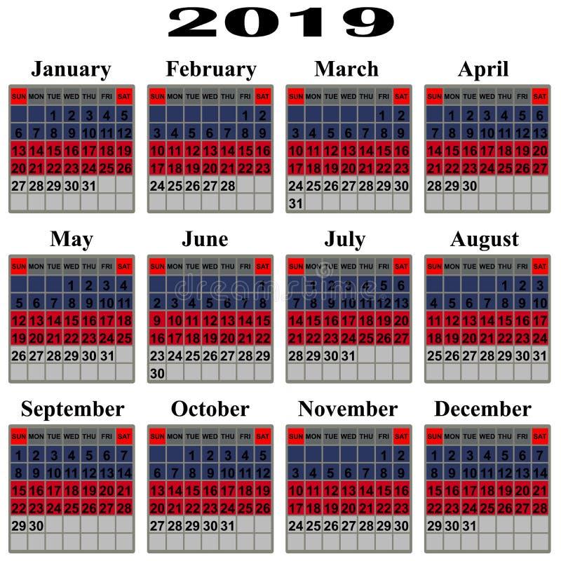 Calendário por 2019 anos ilustração royalty free