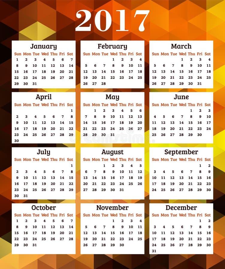 Calendário por 2017 anos ilustração royalty free