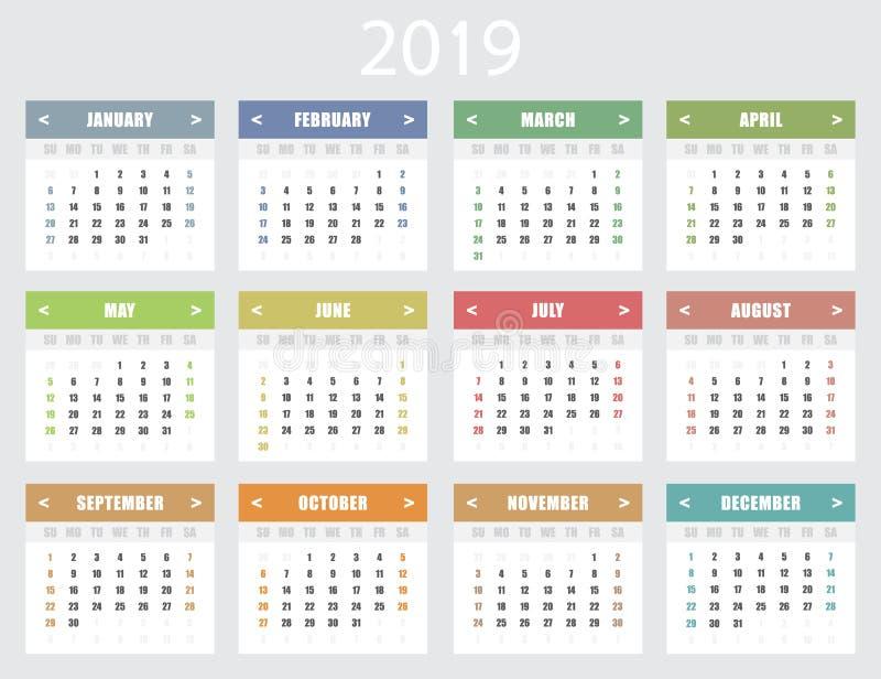 Calendário por 2019 anos Começos da semana em domingo ilustração stock