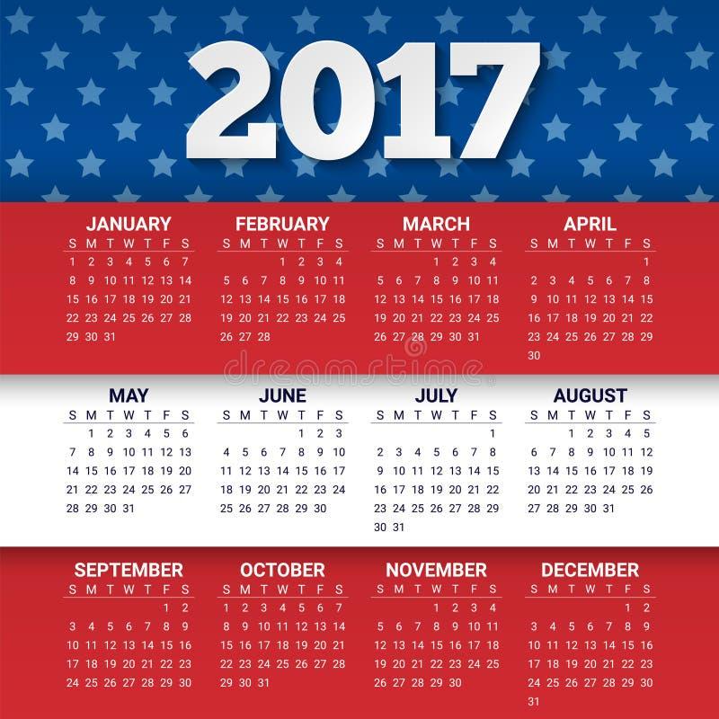 Calendário por 2017 anos nas cores da bandeira dos EUA com bandeira dos Estados Unidos A semana parte de domingo Molde do projeto ilustração stock