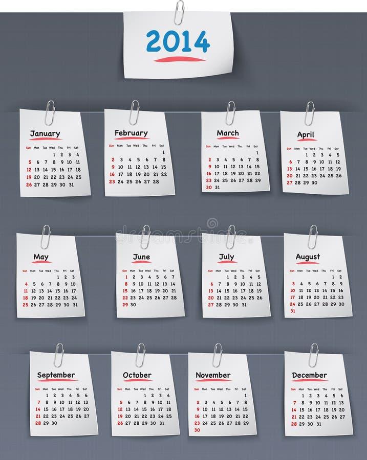 Calendário por 2014 anos nas notas pegajosas unidas ao CCB de linho ilustração do vetor