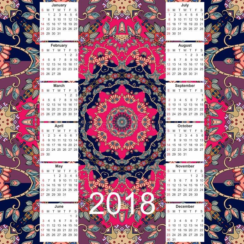 Calendário por 2018 anos no fundo decorativo étnico fotografia de stock