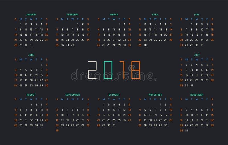 Calendário por 2018 anos no fundo preto ilustração royalty free