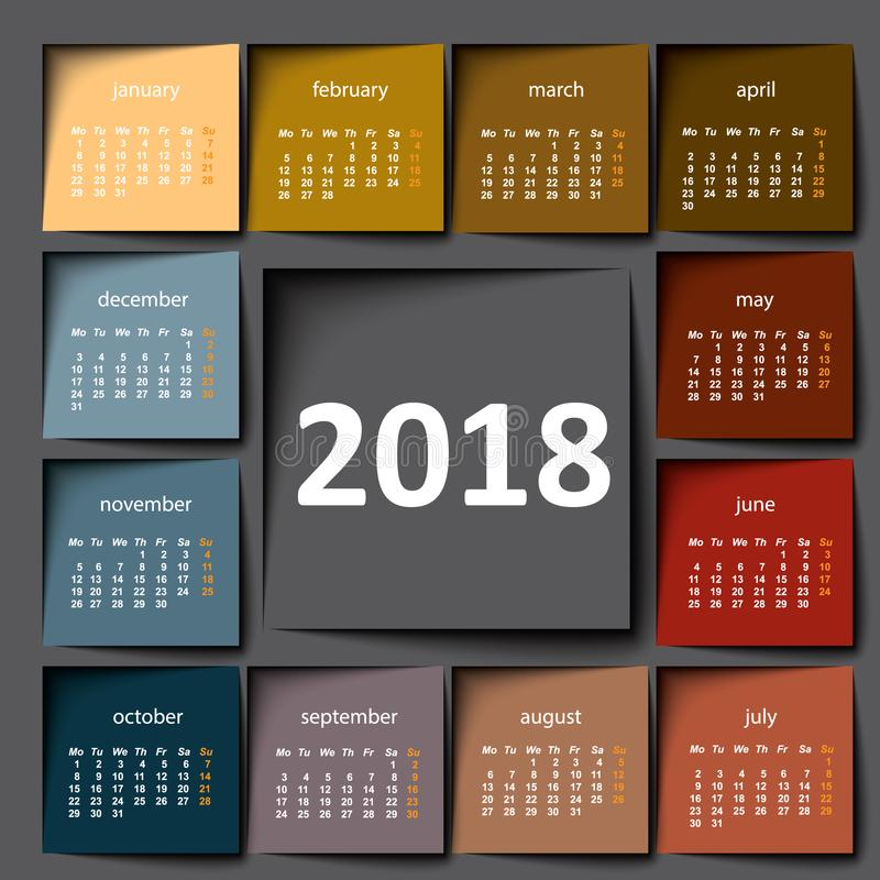 calendário 2018 Post-it da cor imagens de stock