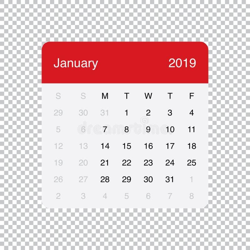 Calendário projeto simples da tabela mínima limpa do janeiro de 2019 Come?os da semana em segunda-feira ilustração royalty free